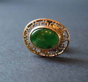 Jadeite and 14K gold pin