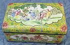 Chinese enamel copper box with children at play
