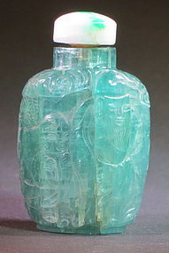 Antique carved aquamarine snuff bottle jadeite stopper