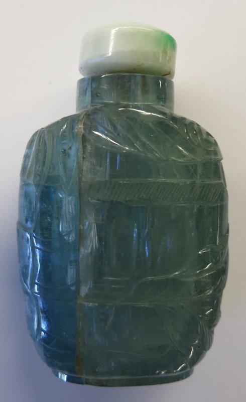 Antique carved aquamarine snuff bottle jadeite stopper