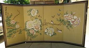 Chinses 4 panels silk screen