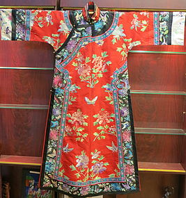 A Manchu Red embroidered lady Robe