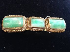 Chinese antique jadeite two section belt buckle