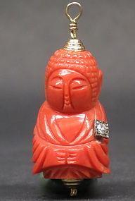 Pink Coral Buddha  pendant with diamond decoration