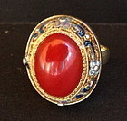 Italian Red Coral silver enameled Ring