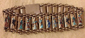 Chinese silver enamel 8 immortals bracelet