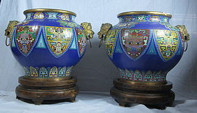 Chinese cloisonne enameled metal jar with base