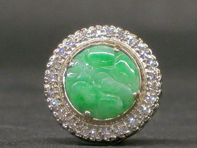 Burma apple green jadeite pendant with diamond