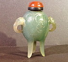 Ding tripod shaped green jade hardstone snuff bottle