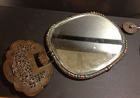 Antique Chinese large copper necklace mirror