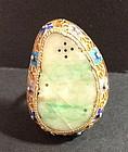 large antique jadeite gilt silver enamel ring