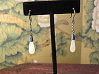 Chinese white jade silver enameled earrings