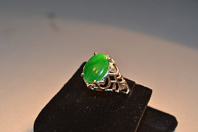 Estate jadeite and white gold ring