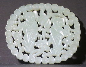 Reticulated jade plaque of Hehe twins