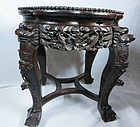 Antique carved rosewood stand with marble top