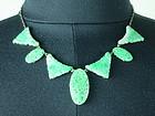 Antique apple green mottle Pierced jadeite necklace