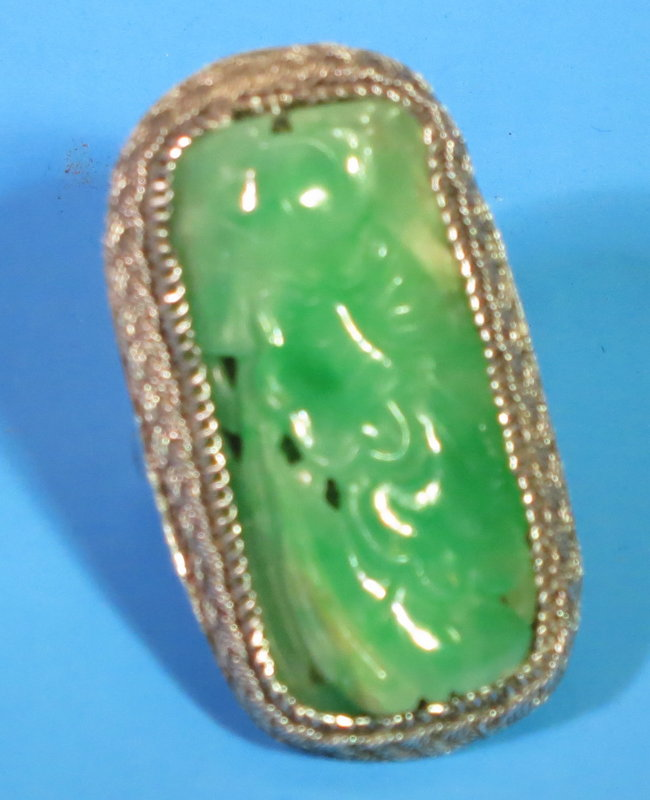 Carved Chinese Apple green jadeite ring in silver