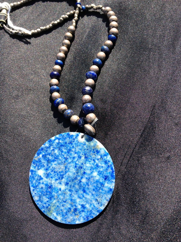 Antique silver and lapis necklace