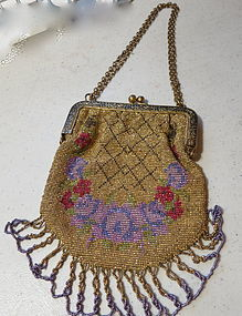 Vintage French beaded purse in 1920's fashion