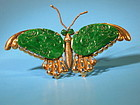 Apple green jadeite and gold Butterfly brooch
