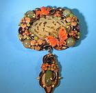 Fancy Art Deco style Chinese jade brooch