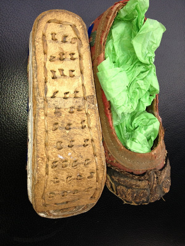 Chinese antique lady's silk  lotus bound feet shoes