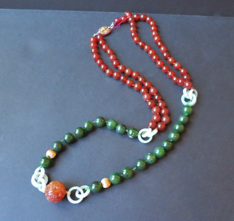 Vintage Chinese jade agate necklace