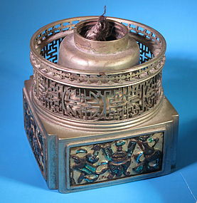 Antique Chinese cloisonne opium lamp