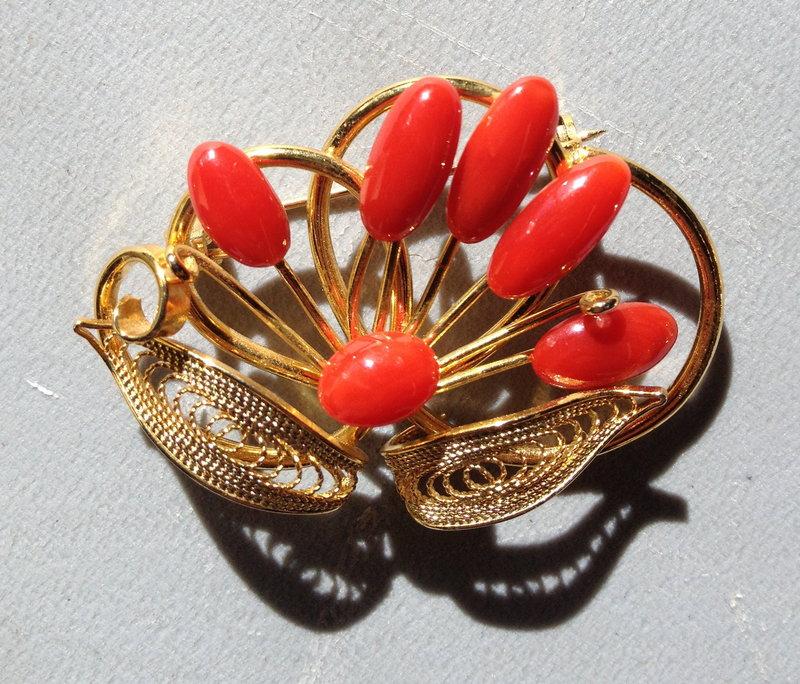 Coral metal brooch