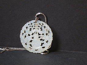 Chinese antique pierced carved medallion pendant