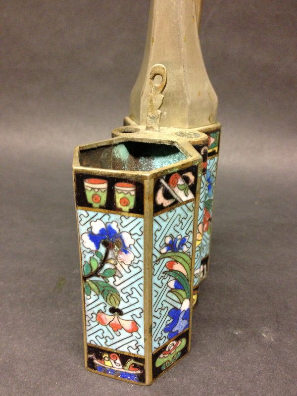 antique Chinese cloisonne water pipe