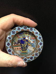 Antique Chinese cloisonne small dish
