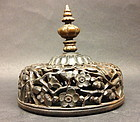 Chinese carved hardwood ginger jar lid