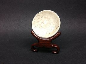 Antique Chinese bone snuff dish with stand