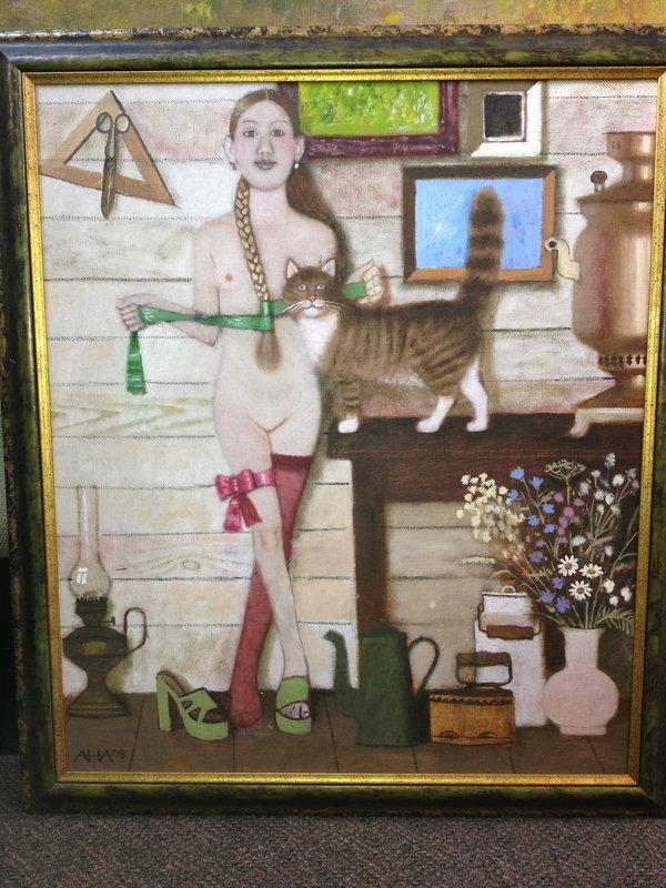 Girl with Cat - Andrei Averyanov - Russian