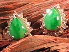 PAIR OF JADE DIAMON WHITE GOLD EARRINGS