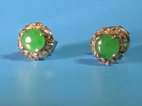 Jadeite diamond white gold earrings