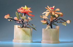 a pair of Chinese miniture jade flower pots