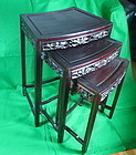 Chinese hard wood fan shape nesting tea tables