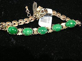 Chinese Burma jadeite and gold bracelet