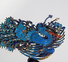 Kingfisher Hair Ornament phoenix form with pearl coral