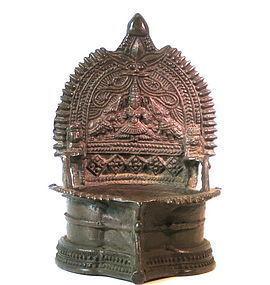 A rare Himalayan Hindu devotional bronzed puja lamp