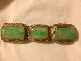 Beautiful Chinese apple green jade belt buckle