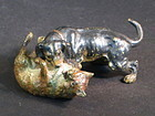 Austrian painted bronze dog and fox