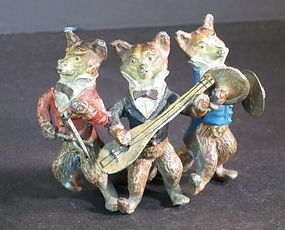 Austrian painted bronze three fox musicans