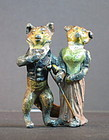 Austrian painted bronze fox couple