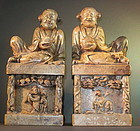 A pair of Chinese large soapstone seal of Harmony twins