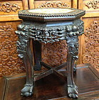 Antique Chinese jardiniere rosewood stand mable top