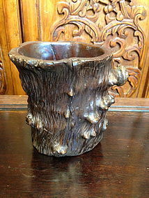 A Chinese Huanghuali root brush holder