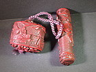 Japanese carved cinnabar container